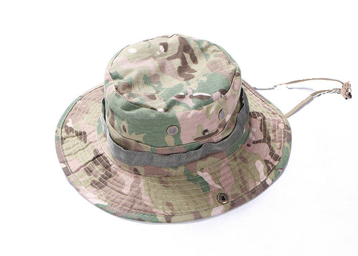 Army Camouflage Multicam Tactical Boonie Hat For Camping With Stability Strap