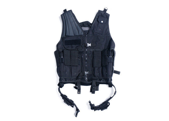 Black Army Military Tactical Vest / Police Molle Load Bearing Vest For Security